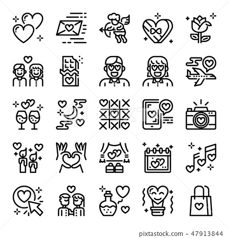 valentine's day pixel perfect icons 47913844