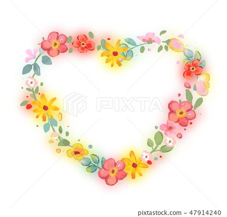 봄꽃 하트 프레임입니다. 47914240