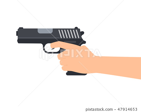 Vector illustration of hands holding gun  47914653