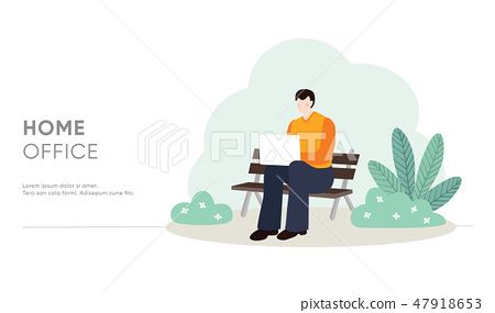 Young man sitting on bench and working on laptop in public park, garden. Home office concept. Male 47918653