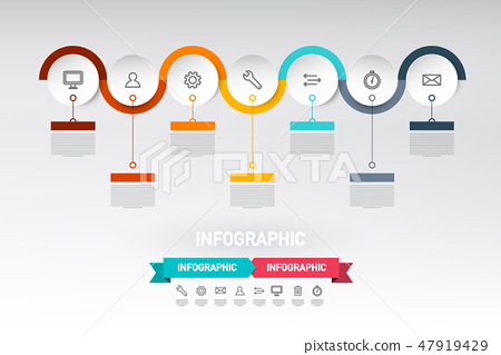 Infographic Web Design with Paper Cut Circles 47919429