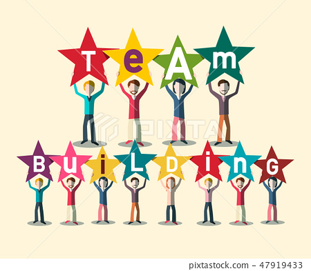 Team Building Concept With People Holding Letters 47919433