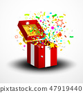 Open Red Surprise Gift Box with Confetti 47919440