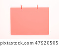 paper card on clothes peg on white background 47920505