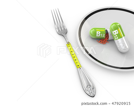 3d Illustration of Diet fresh mixed vegetables with measuring tape 47920915