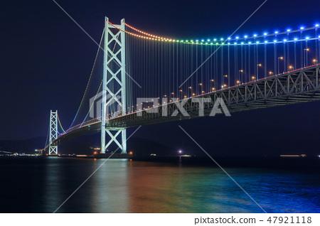 효고현 아카시 해협 대교의 야경 47921118