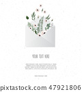 Flowers in envelope on the white background. 47921806