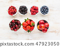 Mixed berries in bowls 47923050