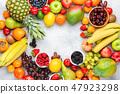 Rainbow fruits background 47923298