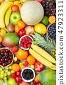 Rainbow fruits background 47923311