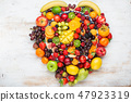 Rainbow fruits heart 47923319