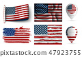 set of usa flags collection isolated 47923755