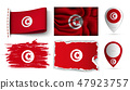 set of tunisia flags collection isolated 47923757