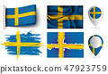 set of Sweden flags collection isolated 47923759