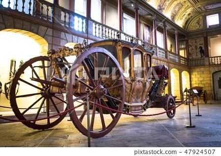 LISBON Coach Museum Exhibits of antique carriages. 47924507