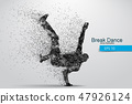 Silhouette of a break dancer from particles. 47926124