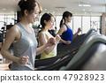 體育健身房,健身房,步行機,跑步機,女性 47928923