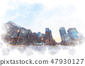 Marunouchi watercolor style of dawn 47930127
