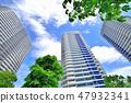 미나토 미라이 신록과 고층 아파트 군 47932341
