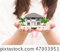 婦女的手與建築模型 47933951