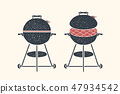 Barbecue, grill. Poster bbq, barbecue, grill tools 47934542