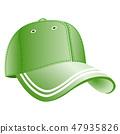 Green baseball cap icon 47935826