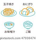 ไอคอนรูปวาดเส้นสี 3 สีอาหารญี่ปุ่น 47936474