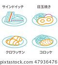 ไอคอนรูปวาดเส้น 3 สีอาหารตะวันตก 3 47936476