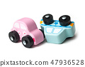 miniatures wooden cars on white background  47936528