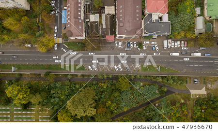 Top Down View Of Buildings Street Roads With Stock Photo 47936670 Pixta