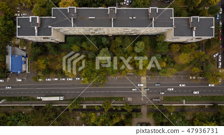 Top Down View Of Buildings Street Roads With Stock Photo 47936731 Pixta