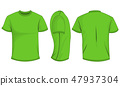 Green t-shirt template in front,side and back view 47937304