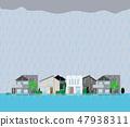 一个被淹没的住宅区的例证 47938311
