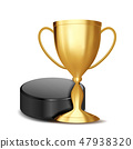 Ice Hockey Award Vector. Ice Hockey Puck, Golden Cup. For Sport Promotion. Tournament, Championship 47938320