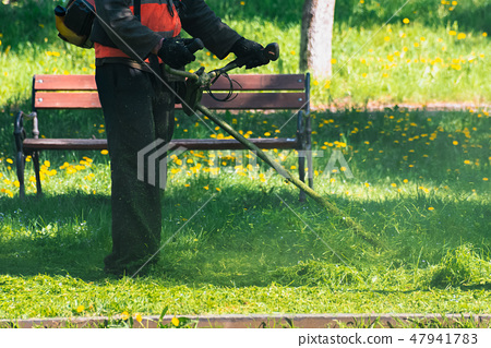 man with brush cutter mowing grass in the park 47941783