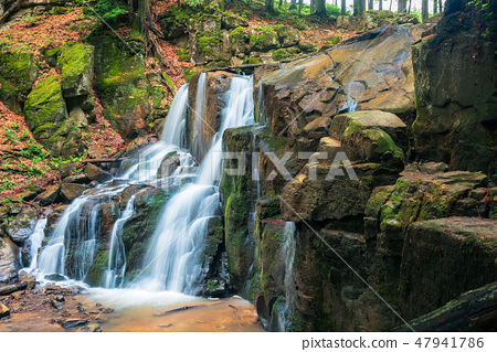 waterfall in the forest. beautiful spring scenery 47941786