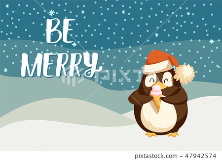 Be Merry Greeting Card with Cute Arctic Penguin 47942574