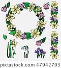 Vector set of spring floral wreath, flower ornamen 47942703