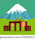 Japanese Restaurant Table with Mountain on Horizon 47944653