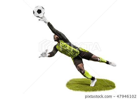 One soccer player goalkeeper man catching ball 47946102