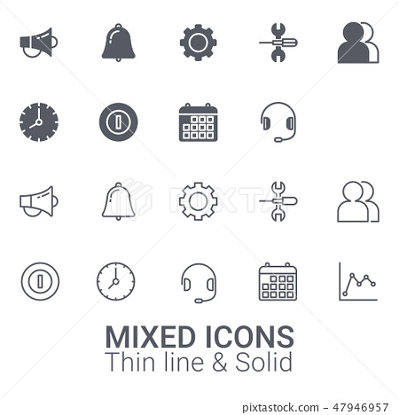 Set of Mixed icons. Thin line and solid icon. 47946957
