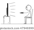 Cartoon Drawing of Man Sitting on Chair and Watching TV or Television 47946999