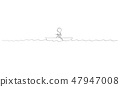 Cartoon Drawing of Lonely Man Paddling Alone in Small Boat in Center of Sea 47947008