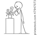 Cartoon Drawing of Man Watering Plant in Pot or Flowerpot 47947073