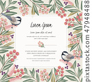 Vector illustration of floral frame with a bird 47948488