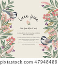 Vector illustration of floral frame with a bird 47948489