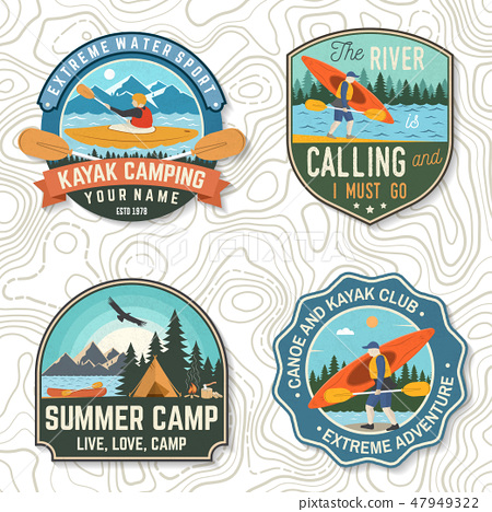 Set of canoe and kayak club badges Vector. Concept for patch, shirt, stamp or tee. Vintage design 47949322