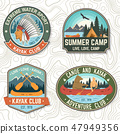 Set of canoe and kayak club badges Vector. Concept for patch, print, stamp or tee. Vintage design 47949356