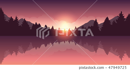 beautiful purple red forest and lake nature landscape at sunrise 47949725