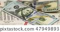 One hundred dollar bills over lottery tickets 47949893